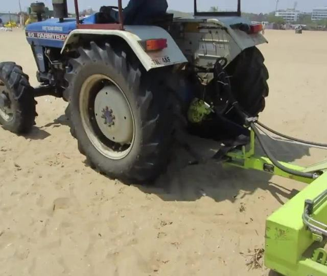 Cleantec Infra Pvt Ltd Demonstrating H Barber Surf Rake Beach Cleaning Machine At Marina Beach Che Gif