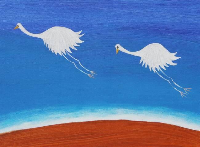 THE RARE WHITE FLYING EMU (AUSTRALIA) by Rose Langford