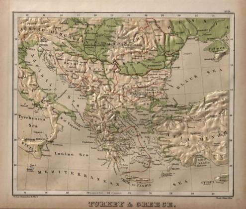 Vintage Physical Map of Greece  1880  by Alleycatshirts  Zazzle
