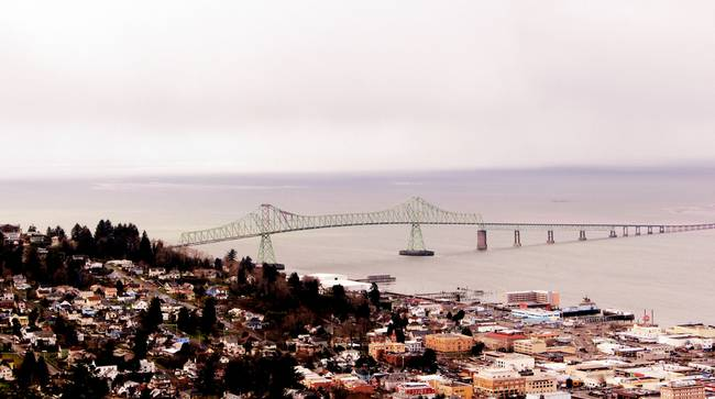 view from the Astoria Column Astoria–Megler Bridge by Dawna and J.  Morton