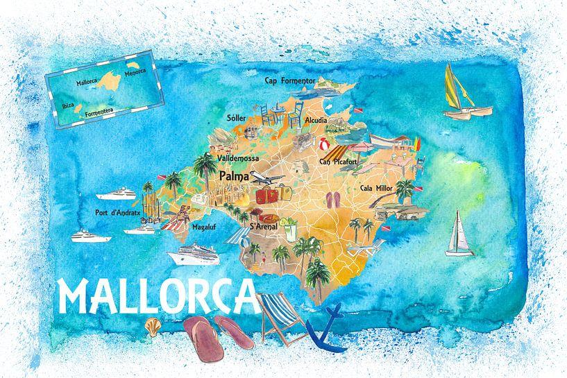illustrierte karte von mallorca spanien mit sehenswurdigkeiten und highlights von markus bleichner