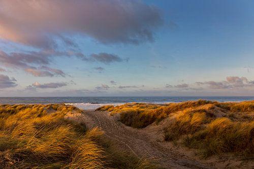 Winterlicht en wolken in de duinen en boven zee