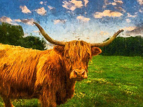 Kleurrijk geschilderd portret van een Schotse Hooglander