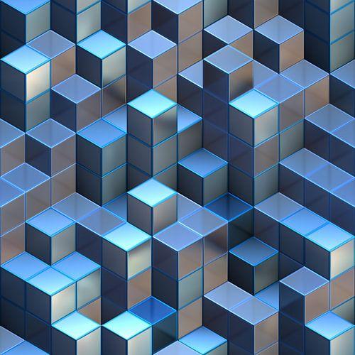 Abstracte Blauwe Torens van Kubussen