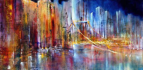 Stadtansicht mit Hängebrücke