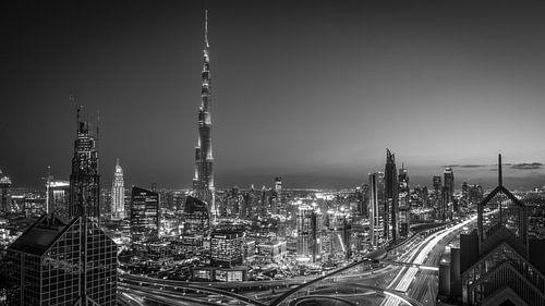 De Dubai Skyline (Black & White)
