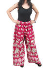 Women's Boho Pants Pajamas Pink Elephants Wide Leg Hippie Palazzo