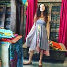 Boho Chic 2 in 1 Summer Dress and Maxi Skirts Recycled Vintage Sari 2 Layer S