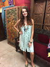 Boho HIPPY GYPSY Womens Shift Dress Floral Embroidered Soft Rayon Strap Sundress