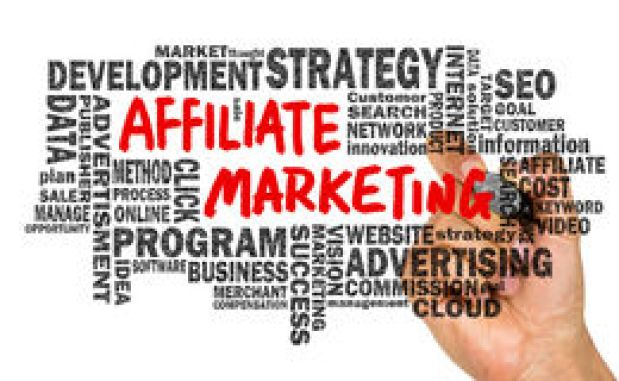Affiliate marketing handwritten on whiteboard with related words Royalty Free Stock Photography