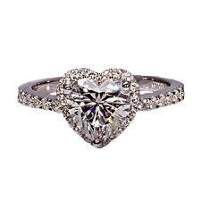 18K White Gold Heart Shaped Diamond Ring 2.05 Carat