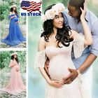 US Pregnant Women Lace Dress Maternity Maxi Gown Dress Photography Props 4 Color