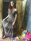 BOHO GYPSY HIPPIE LONG DRESS PRINTED OFF SHOULDER HOLIDAY FREE FALLING SUNDRESS