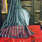 2 Organza Sheer Curtains Black Silver Striped With Golden Border Window Panel