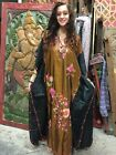 BOHEMIAN INDIAN WOMEN MAXI CAFTAN KASHMIRI HAND EMBROIDERED COVERUP HOUSE DRESS