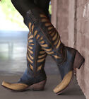 LB711510 LIBERTY BLACK GLORY VINTAGE CAFE TALL LEATHER BOOTS