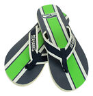 FOCO NFL Men's Seattle Seahawks Stripe Wordmark Thong Sandals