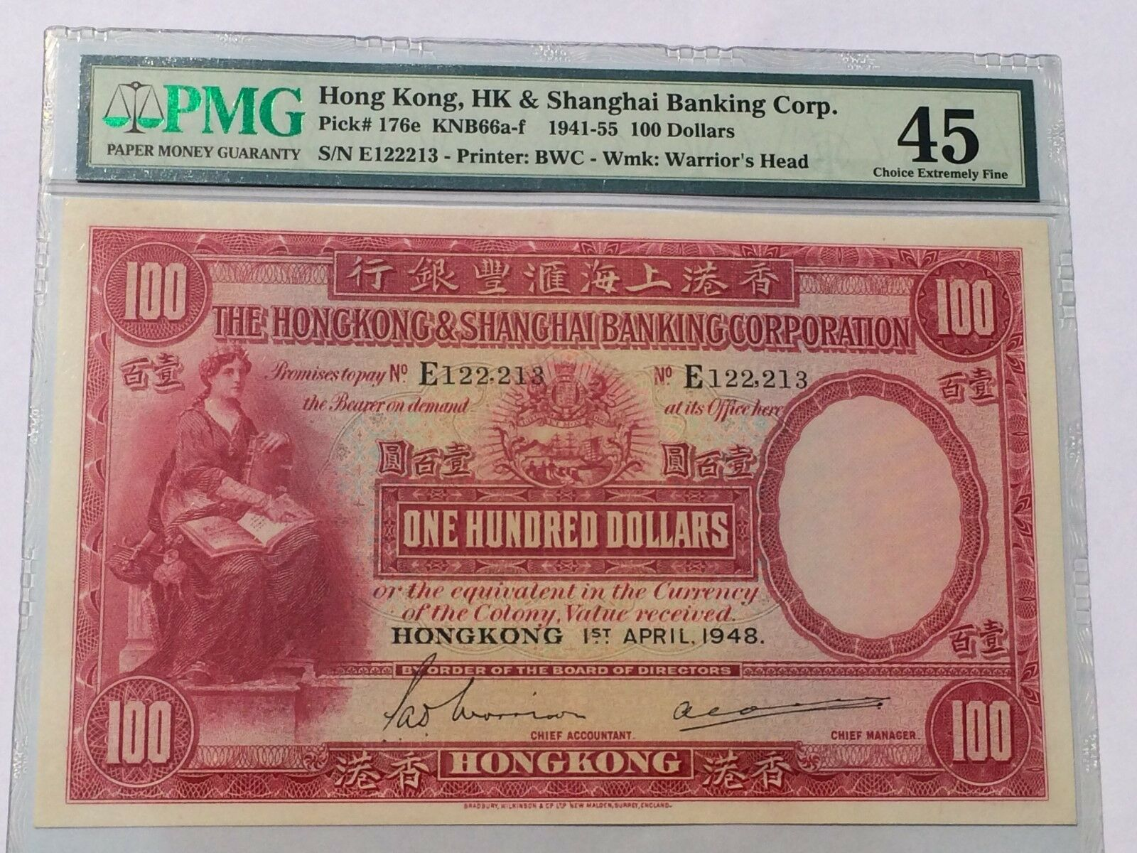 Image result for New listing Hong Kong, 1941-55 100 Dollars P176e PMG 45