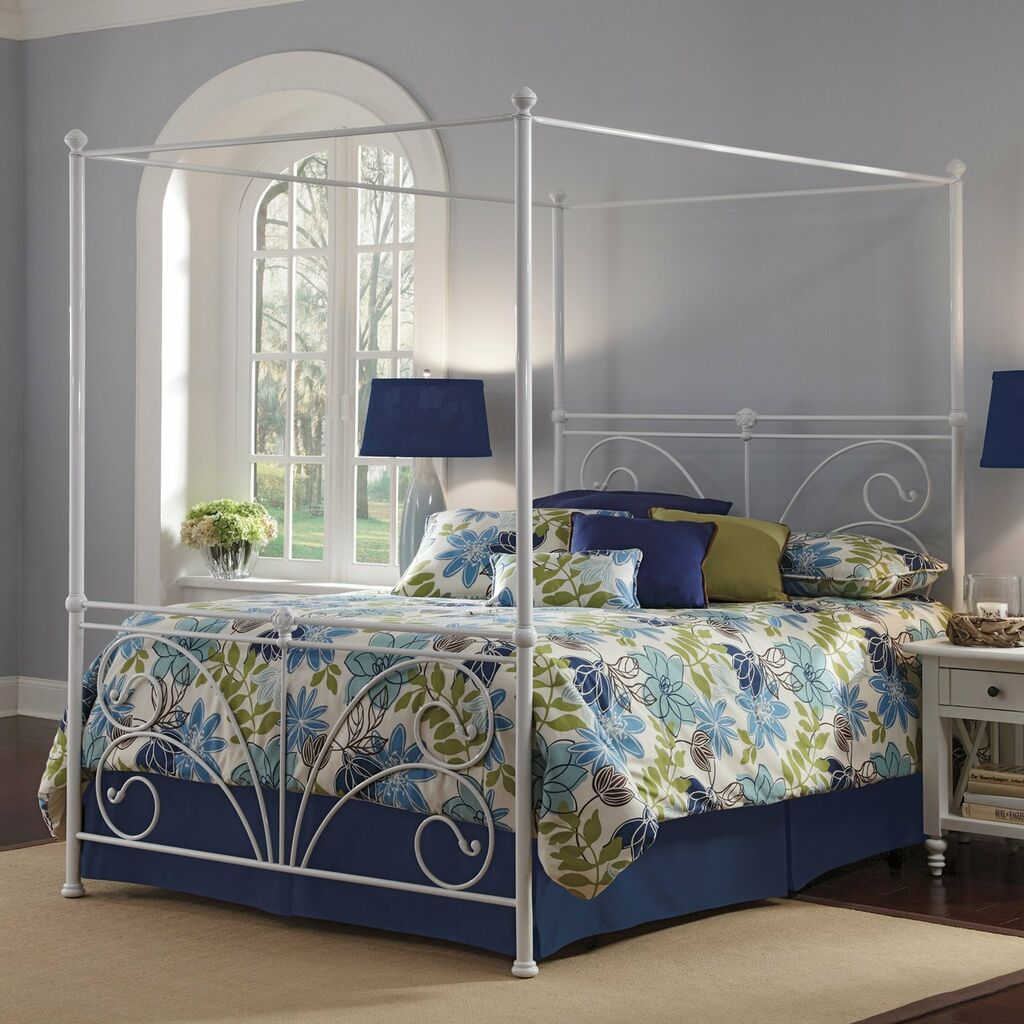 King Size Antique White Metal Canopy Bed With Optional Bed
