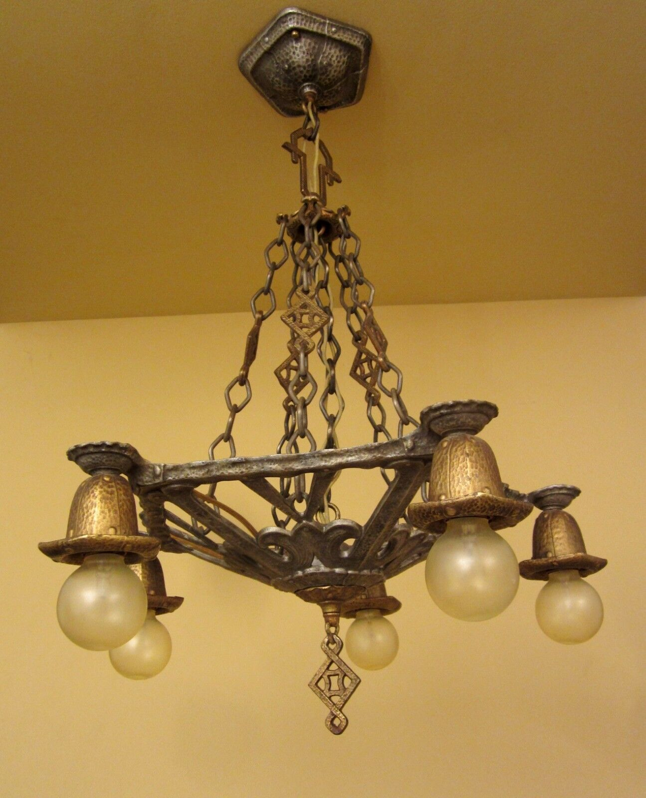 Vintage lighting circa 1930 spanish revival chandelier for Spanish revival lighting