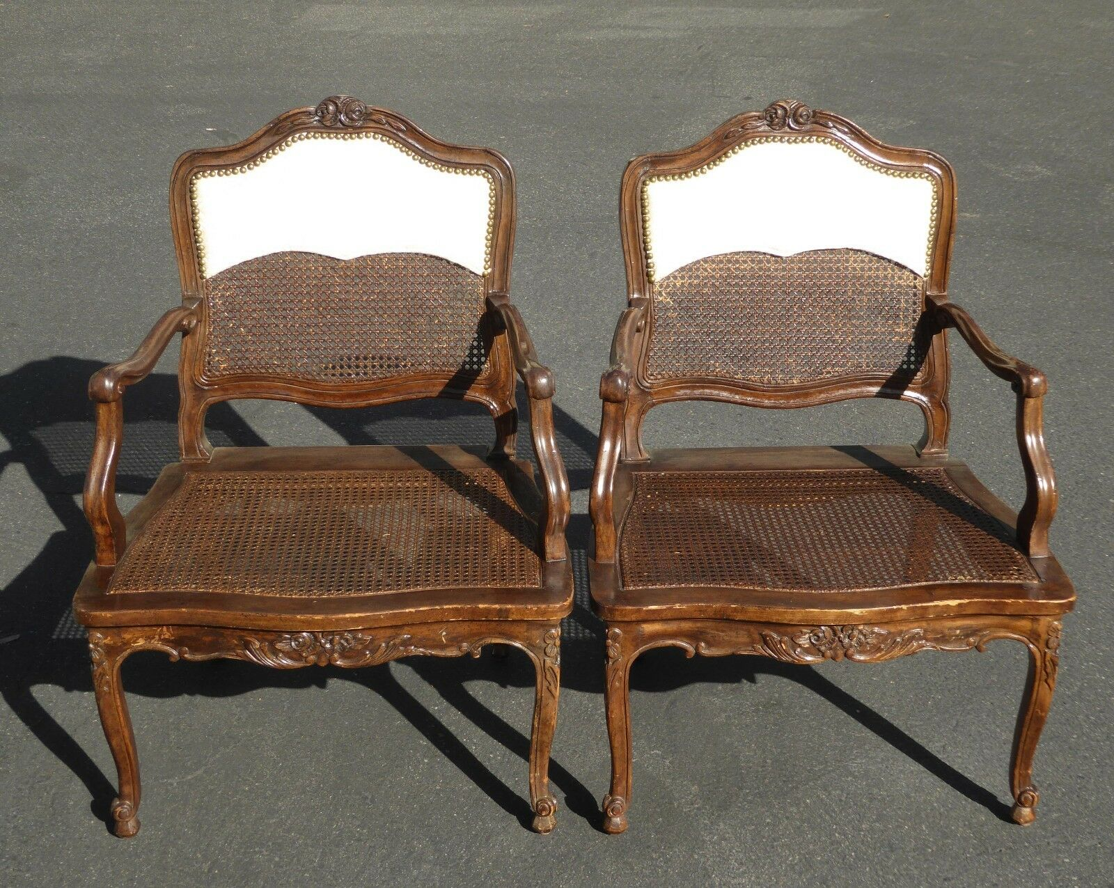 Brilliant Pair Vintage French Provincial Country Style Carved Wood Uwap Interior Chair Design Uwaporg