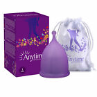 ANYTIME Premium Reusable Soft Larger Moon Menstrual Cups Alternative to Tampons