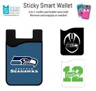 NFL Back of Phone Wallet Credit Card Holder Sleeve Case Chiefs+Packers+Seahawks