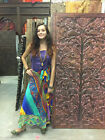 Boho Magic Wrap Skirt Vintage Silk Sari Two Layer Reversible Beach Halter Dress