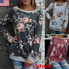 US Fashion Womens Long Sleeve Casual Tops Ladies Loose Floral Blouse Top T Shirt