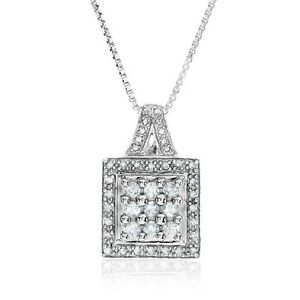 """0.50 Carat Natural Diamond Pendant in Sterling Silver - 18"""" Chain"""