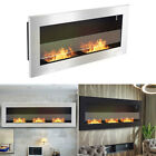 Glass Flat Bio Ethanol Fireplace Wall Mounted/Insert Recessed Biofire Heater UK