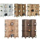 4,5 Panel Wood Room Divider Folding Privacy Screens with Shelves Partition Decor