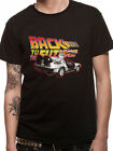 Official T Shirt BACK TO THE FUTURE LOGO AND DELOREAN Black Mens Licensed New