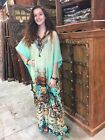 WOMEN'S SUMMER CAFTAN JEWEL PRINT KIMONO COVER UP SEXY SHEER MAXI DRESS ONE SIZE