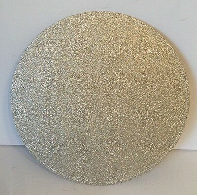 Champagne Gold Sparkle Large Round Glitter Placemats 6