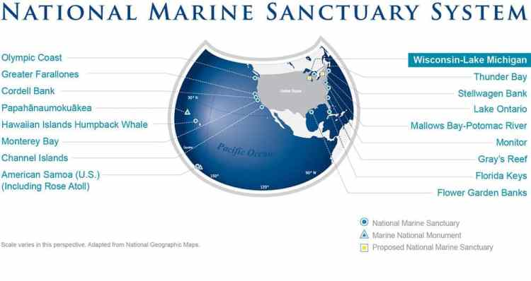 NOAA Marine Sanctuary Map