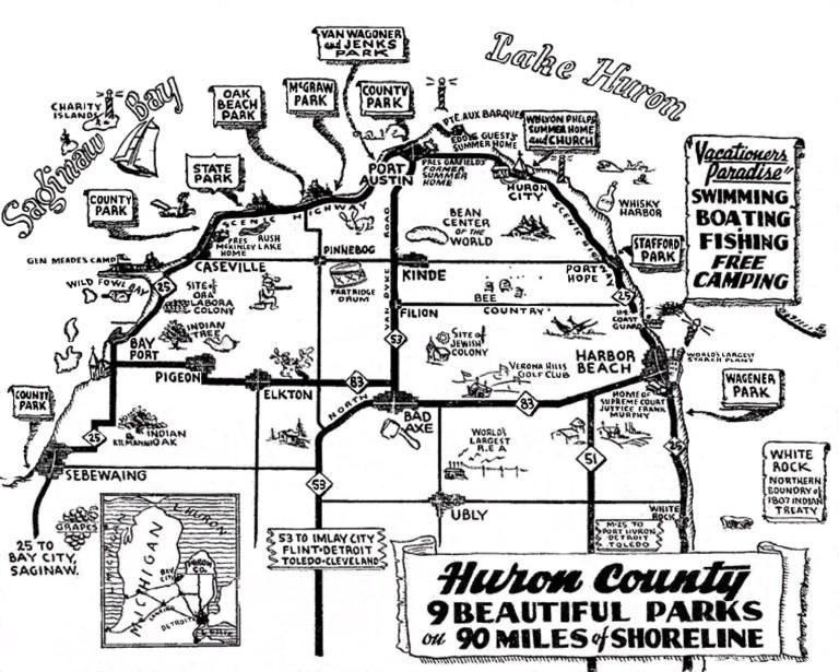1940 Huron County Travel Map - Michigan Thumb Blog