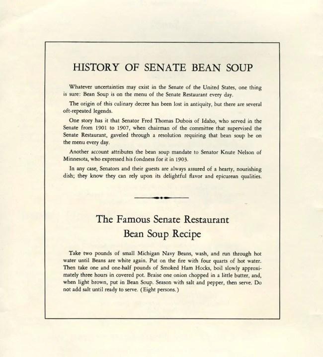 Senate Michigan Navy Bean Soup History.