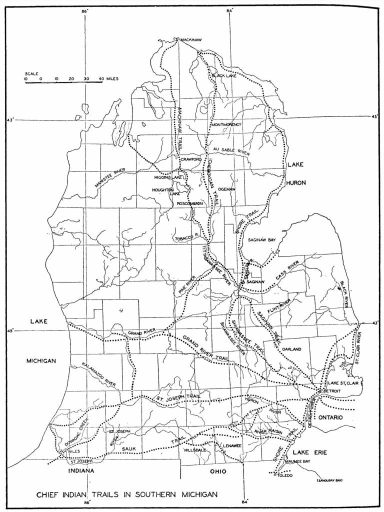 Major Indian Trails of Lower Michigan