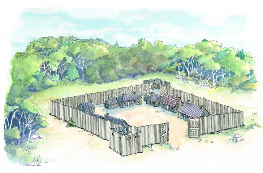Fort-St-Joseph-Colorized Interpretive Sketch