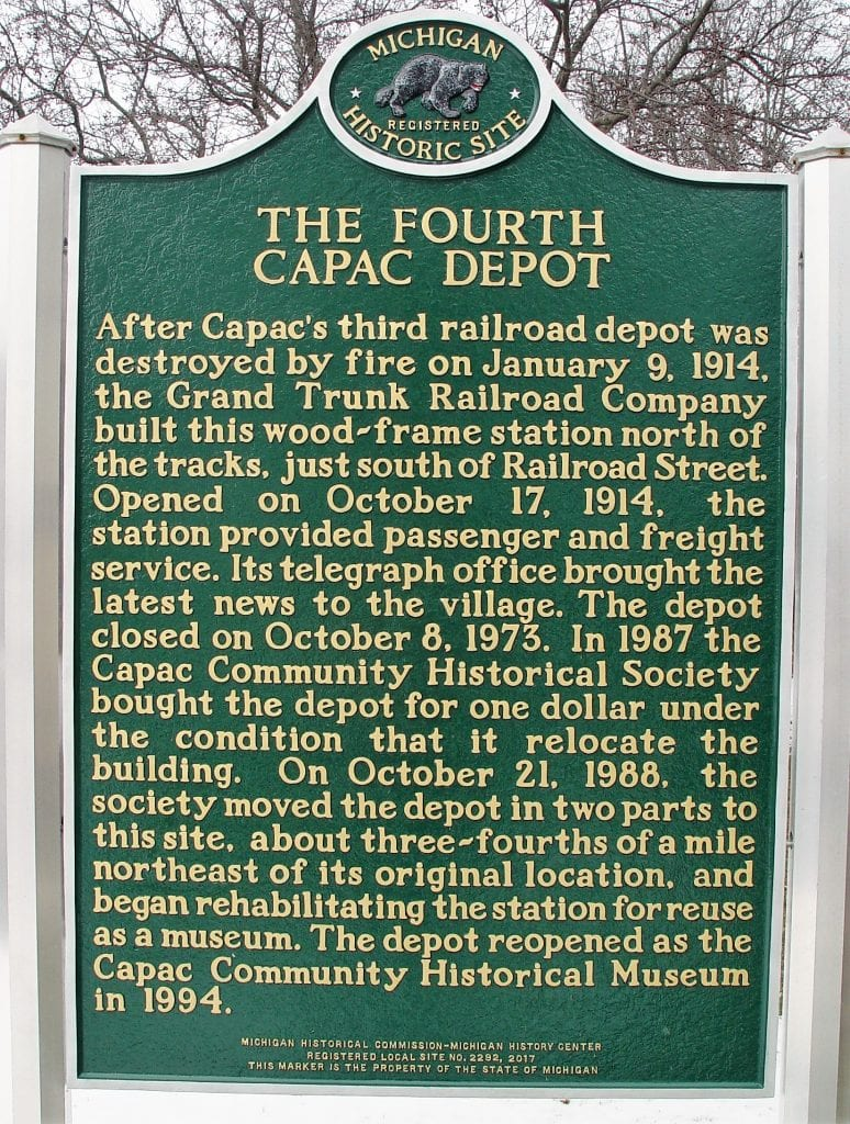 Michigan Historical Marker Capac