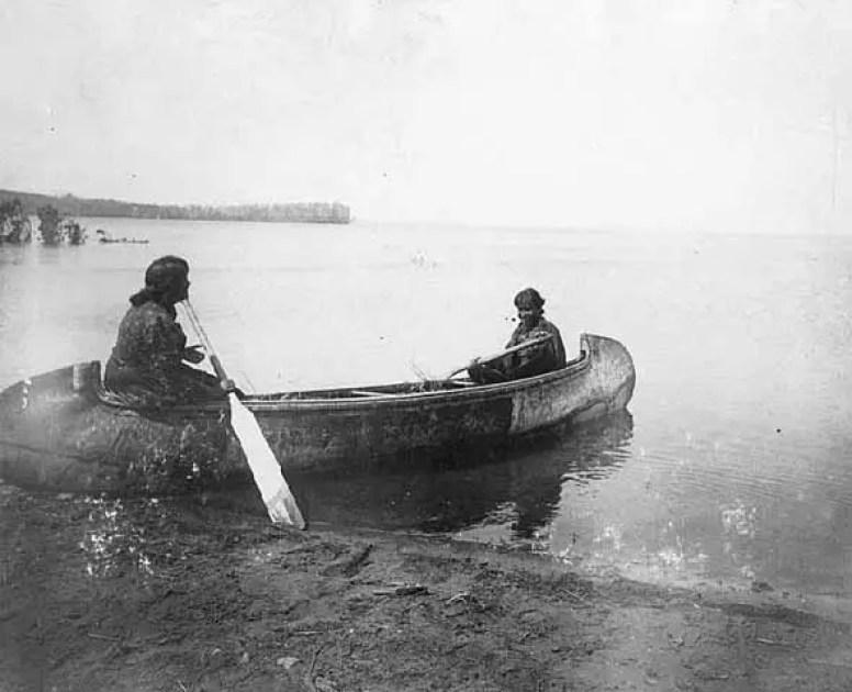 Michigan Indians in Canoe