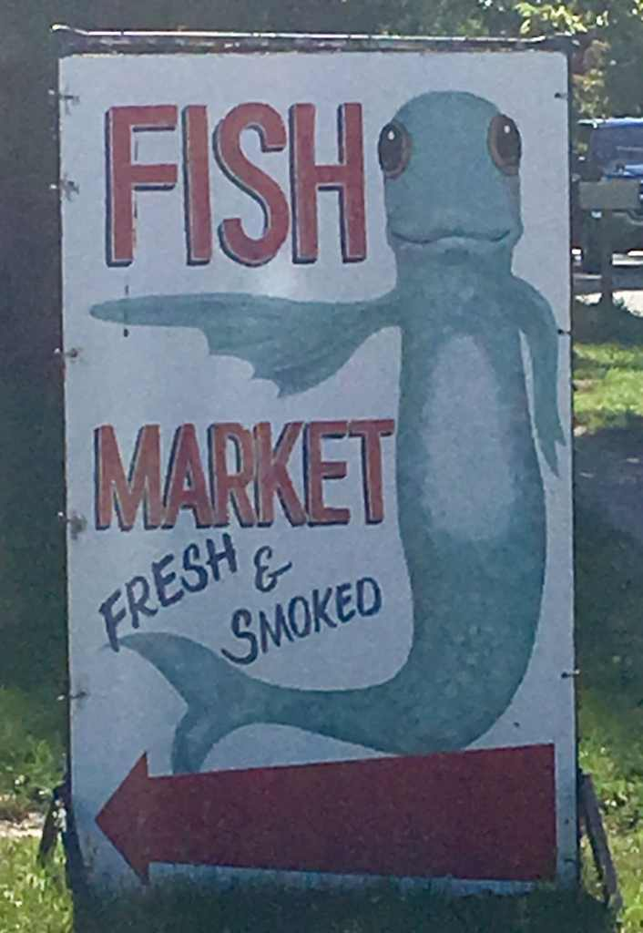 Bay Port Fish Market Road Sign