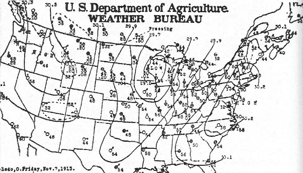 1913 White Hurricane weather map