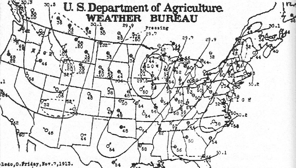 1913 White Hurricane weather map