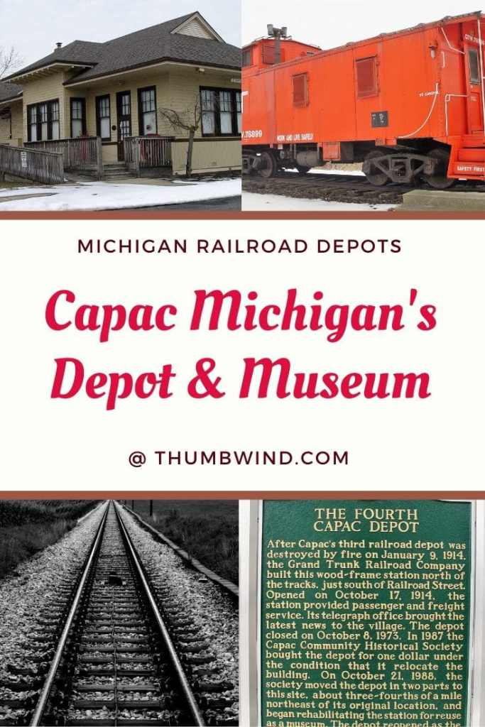 The Capac Railroad Depot is a bit off the beaten path. Situated east of Imlay City, it maintains the vibrant small town rural charm found in Michigan. The town is located between Port Huron and Flint. The historic railroad depot is also home to one of the finest small town museums in the region.