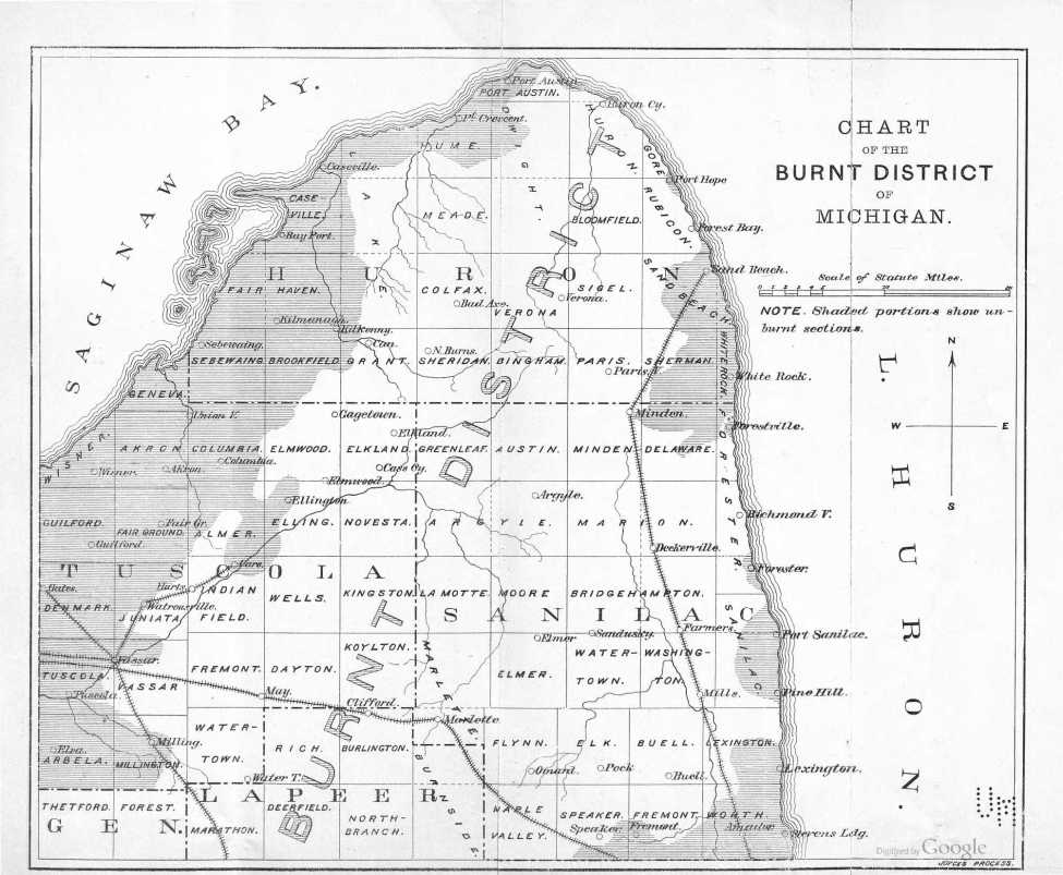 Chart of the Burnt District - From the Report on the Michigan Forest Fires of 1881 - William O. Bailey