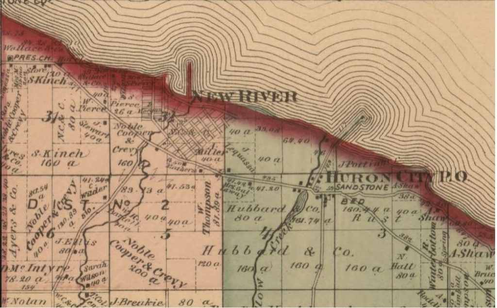 1870 Plat Map of New River Michigan, Huron County.
