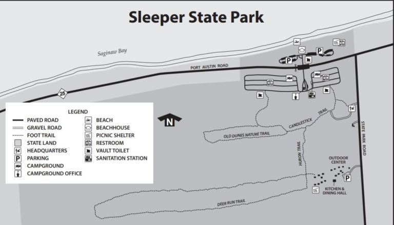 Sleeper State Park Map Showing Trails