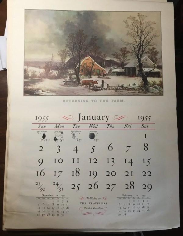 Currier & Ives Calendar 1955